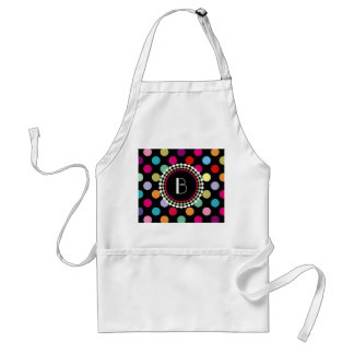 Colorful Polka Dots Pattern with Monogram Standard Apron