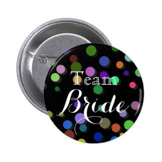 Colorful Polka Dots Wedding Team Bride 6 Cm Round Badge