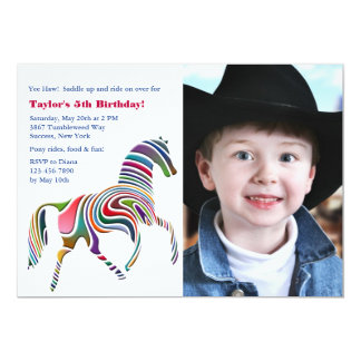 Colorful Pony Photo Birthday Party Invitation