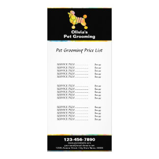 Colorful Poodle Pet Grooming Price List Full Color Rack Card