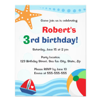 Colorful pool or beach party invitation for kids