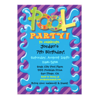 Colorful Pool Party Invitations