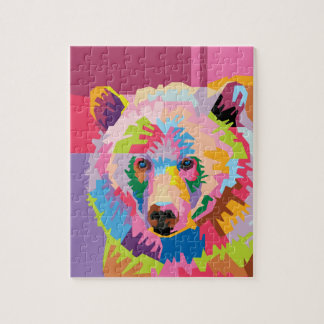 Colorful Pop Art Bear Portrait Jigsaw Puzzle