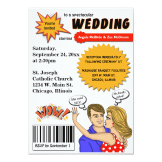 Colorful Pop Art Comic Book Cover Wedding Invite