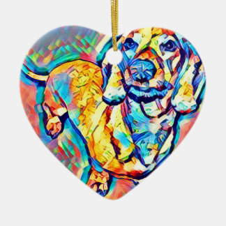 Colorful Pop Art Dachshund Christmas Ornament