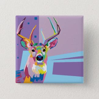 Colorful Pop Art Deer Portrait 15 Cm Square Badge
