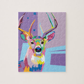Colorful Pop Art Deer Portrait Jigsaw Puzzle