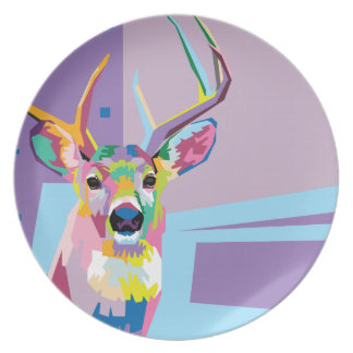 Colorful Pop Art Deer Portrait Plate