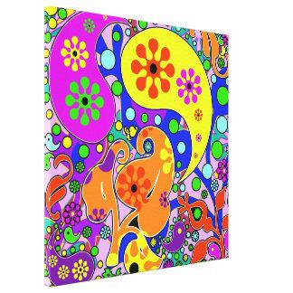 Colorful Pop Art Flowers Retro Paisley Canvas Print