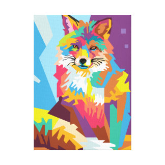 Colorful Pop Art Fox Portrait Canvas Print