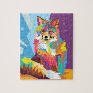 Colorful Pop Art Fox Portrait Jigsaw Puzzle