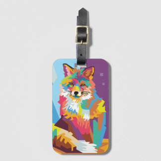 Colorful Pop Art Fox Portrait Luggage Tag