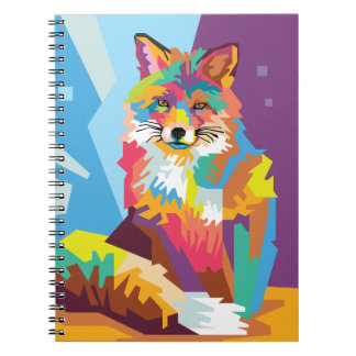 Colorful Pop Art Fox Portrait Notebook
