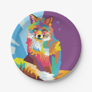 Colorful Pop Art Fox Portrait Paper Plate