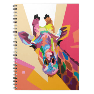 Colorful Pop Art Giraffe Portrait Notebook