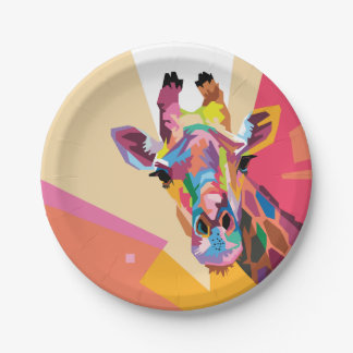 Colorful Pop Art Giraffe Portrait Paper Plate