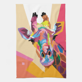 Colorful Pop Art Giraffe Portrait Tea Towel