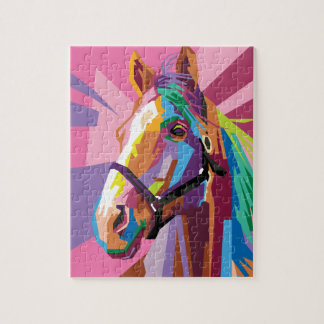 Colorful Pop Art Horse Portrait Jigsaw Puzzle