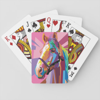 Colorful Pop Art Horse Portrait Playing Cards