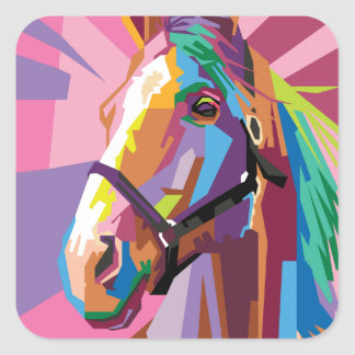 Colorful Pop Art Horse Portrait Square Sticker