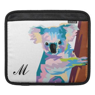 Colorful Pop Art Koala Monogrammed iPad Sleeve