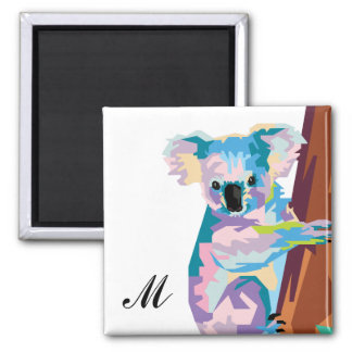 Colorful Pop Art Koala Monogrammed Magnet