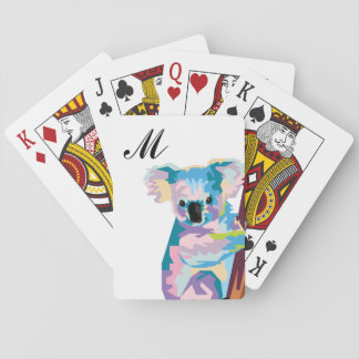 Colorful Pop Art Koala Monogrammed Playing Cards