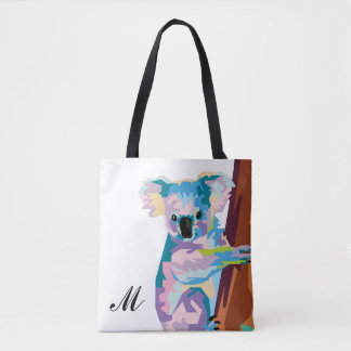 Colorful Pop Art Koala Monogrammed Tote Bag