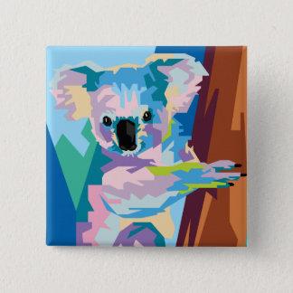 Colorful Pop Art Koala Portrait 15 Cm Square Badge