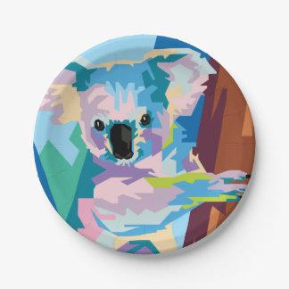 Colorful Pop Art Koala Portrait 7 Inch Paper Plate