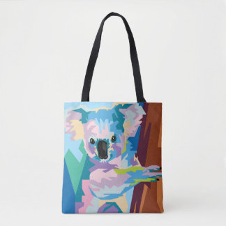 Colorful Pop Art Koala Portrait Tote Bag