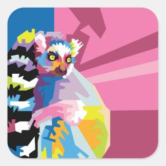 Colorful Pop Art Lemur Portrait Square Sticker