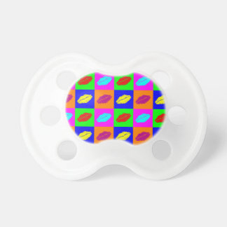 Colorful pop art lipstick kiss baby pacifier