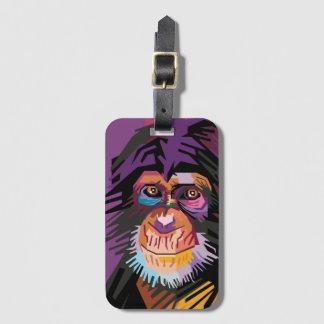 Colorful Pop Art Monkey Portrait Luggage Tag