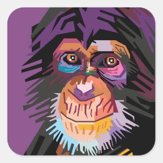 Colorful Pop Art Monkey Portrait Square Sticker