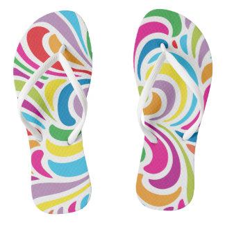 Colorful Pop Art Teardrop Pattern Flip Flops