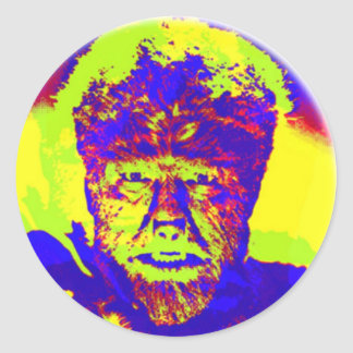 Colorful Pop Art Wolfman Classic Round Sticker