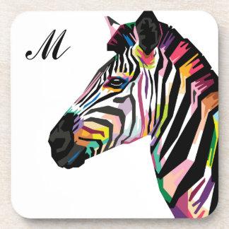 Colorful Pop Art Zebra Monogrammed Coaster
