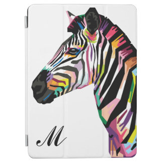 Colorful Pop Art Zebra Monogrammed iPad Air Cover