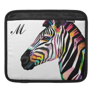Colorful Pop Art Zebra Monogrammed iPad Sleeve