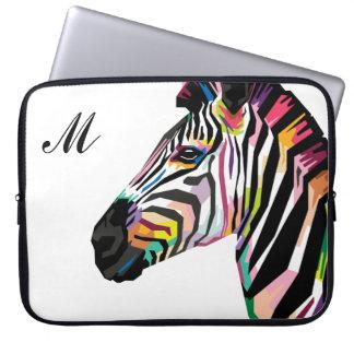 Colorful Pop Art Zebra Monogrammed Laptop Sleeve