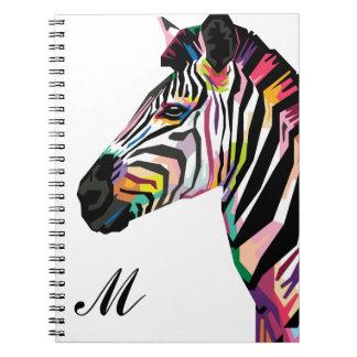 Colorful Pop Art Zebra Monogrammed Notebook