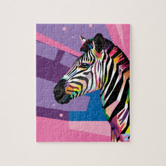 Colorful Pop Art Zebra Portrait Jigsaw Puzzle