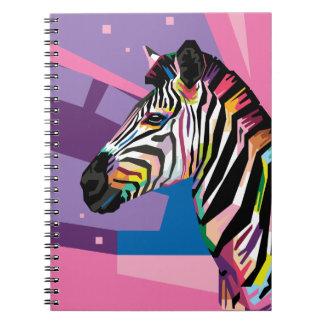 Colorful Pop Art Zebra Portrait Notebook