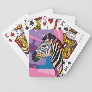 Colorful Pop Art Zebra Portrait Playing Cards