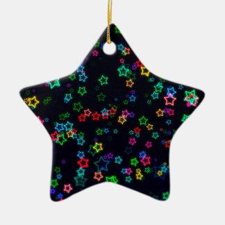 Colorful Pop Neon Star Christmas Ornament