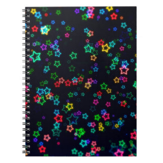 Colorful Pop Neon Star Spiral Notebook