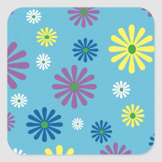 Colorful popart flower pattern square sticker