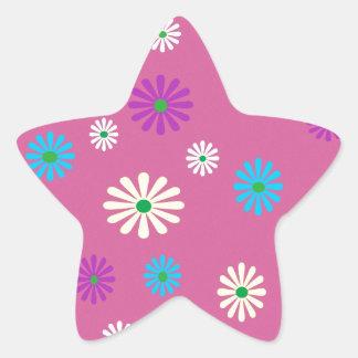 Colorful popart flower pattern star sticker