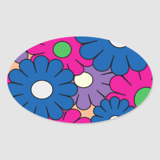 Colorful popart flowers pattern oval sticker